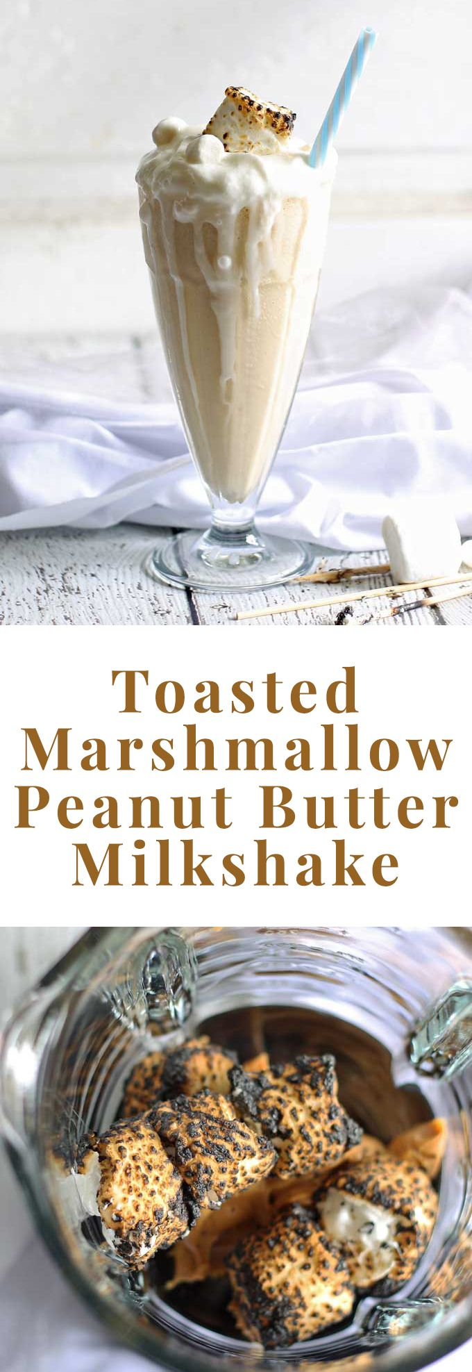 You probably have the ingredients for this toasted marshmallow peanut butter milkshake in your fridge and pantry! Make this delicious dessert beverage today! | honeyandbirch.com
