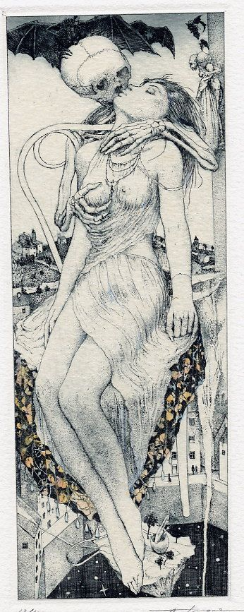 """METAL ON METAL: The Erotic """"Death and the Maiden"""" Ex Libris of Alphonse Inoue"""