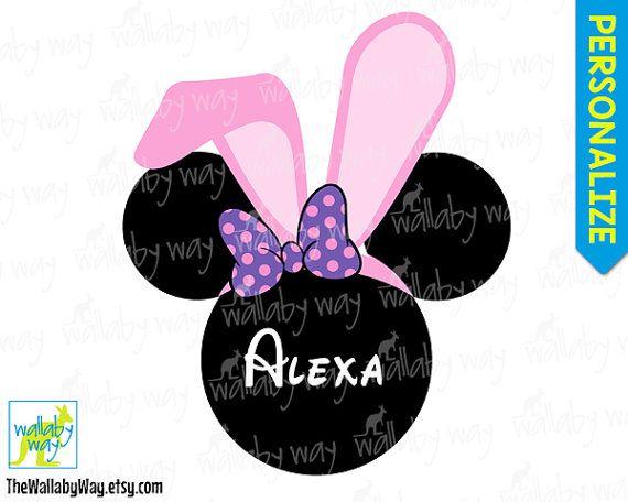 Minnie Bunny Ears Disney Easter Printable Iron On Transfer or   – Disney vaca