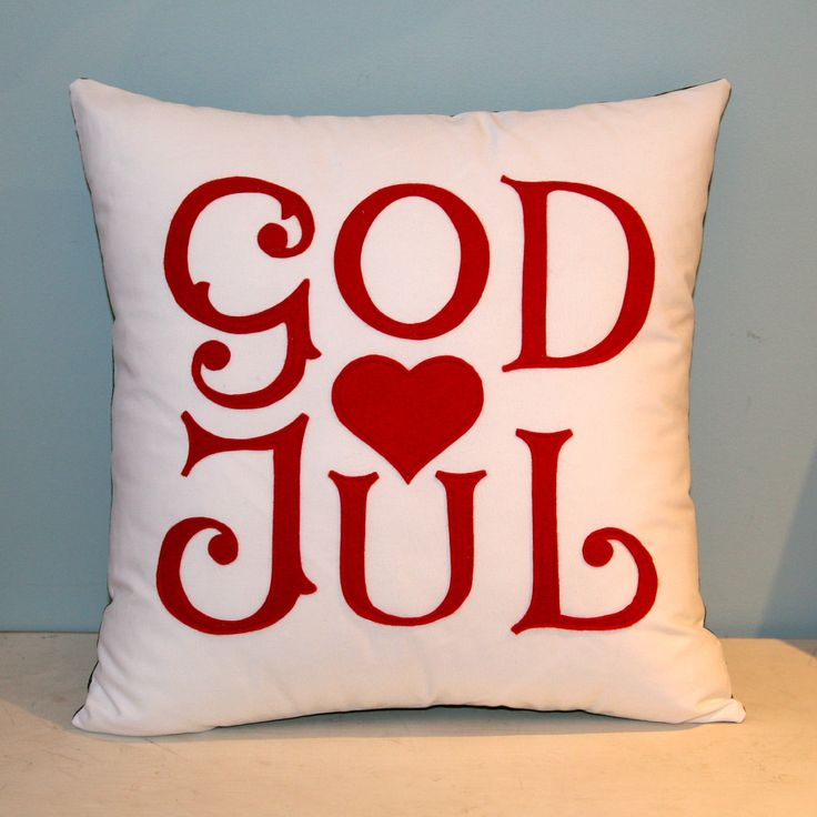 God Jul - Scandinavian Merry Christmas pillow. By Etsy. JUST HAVE TO HAVE: 2  PLUS KARLEK (love in Swedish) MUST HAVE: 2-IN RED! : ))