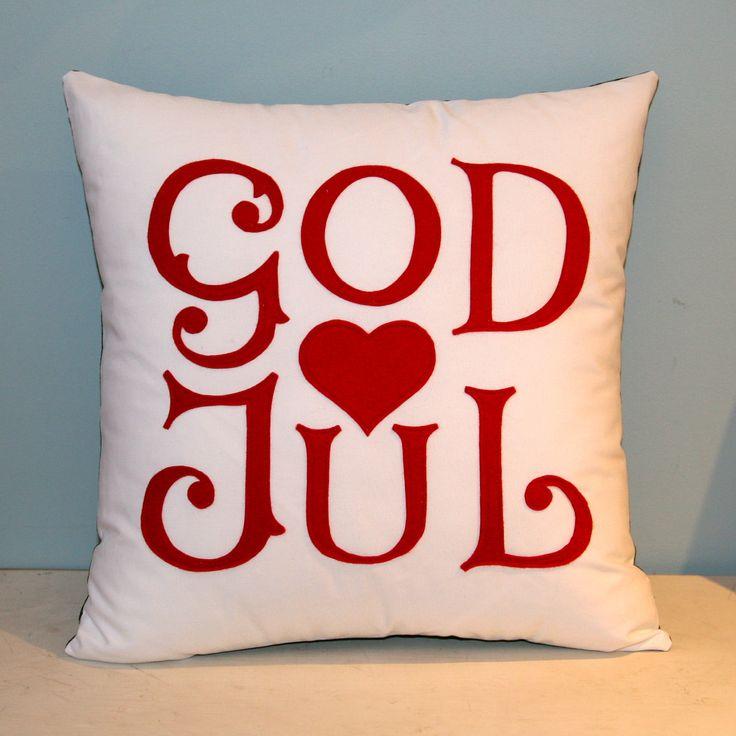 God Jul - Scandinavian Merry Christmas pillow. 60.00, via Etsy.