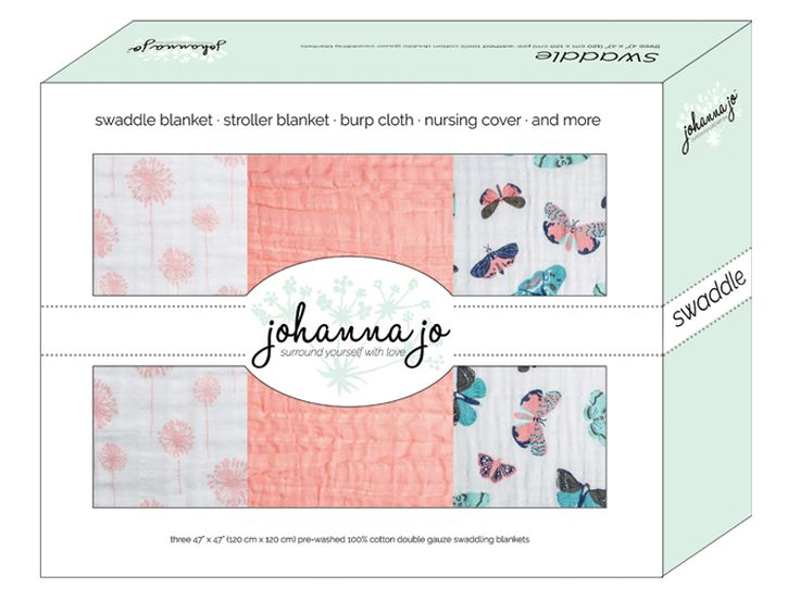 Embrace® Swaddle 3 Pack Mariposa Three finished swaddle baby blankets out of the 100% cotton Embrace Double Gauze. Mariposa includes two patterned and one sold swaddle. The prints are Dandelion in Coral and Mariposa (butterflies). The complimentary solid is Coral.