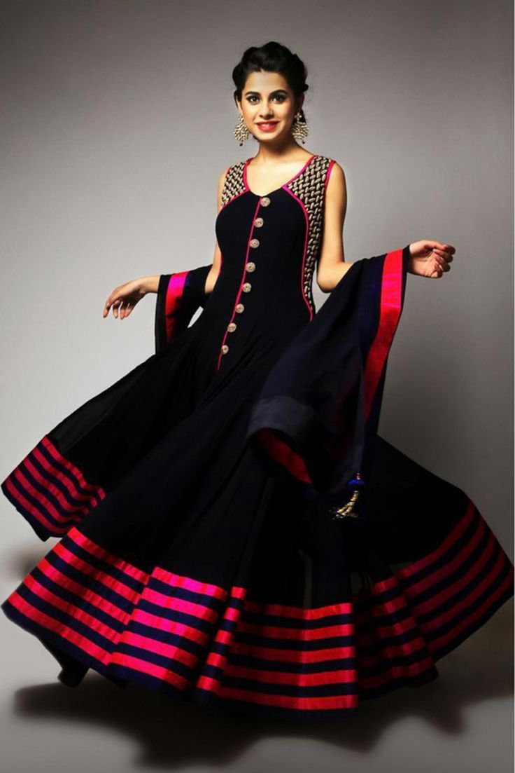 Georgette Anarkali Party Wear Suit in Black Colour.It comes with matching Dupatta and Bottom.It is crafted with Lace Work...