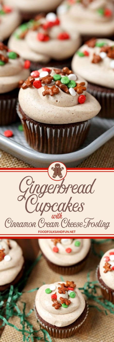Spicy, delicious Gingerbread Cupcakes with Cinnamon Cream Cheese Frosting.