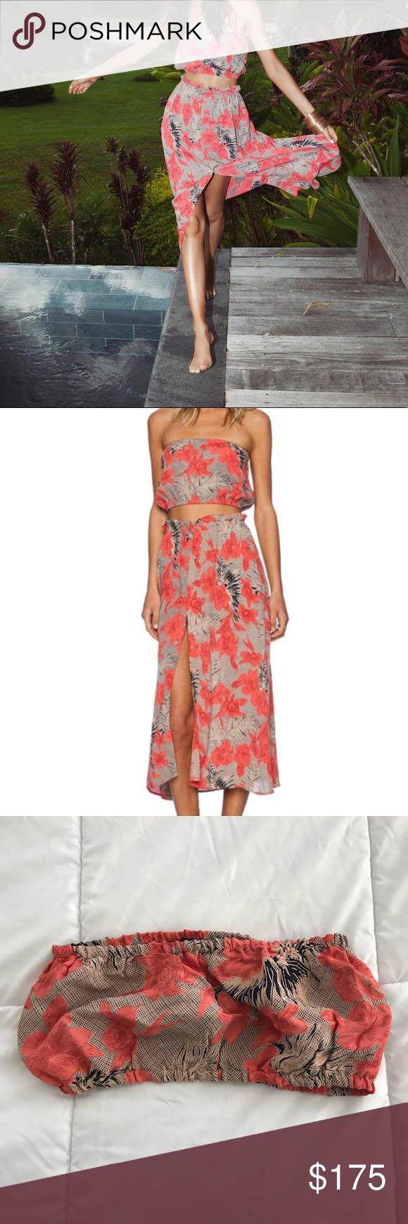 ✨For Love and Lemons🌺 Mai Tai set A GORGEOUS matching set from for love & Lemons. The mai tai tube top and maxi skirt in the red orchid print. Perfect for a tropical vacation or spring break! Tube top is elastic and a size medium but best fits a small. The beautiful skirt has functional buttons down the front and pockets on both sides. Skirt is a size small. Both pieces in excellent condition. Only selling as a set!  ⭐️ Top-rated seller! 💌 All items ship same or next day 📩 Offers…