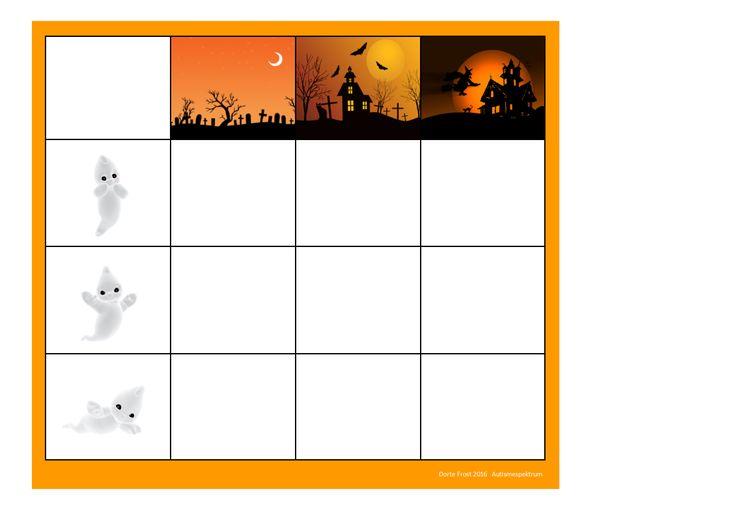 Board for the Halloween ghost matrix game. Find the belonging tiles on Autismespektrum on Pinterest. By Autismespektrum