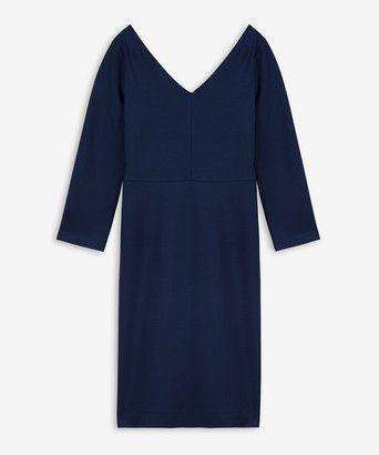 Jurk ballet V - <ul><li>Slanke jurk</li><li>Gemaakt stevige tricot met extra elastane voor comfort</li><li>Wijde V-hals voor en achter</li><li>Verhoogde taillenaad</li><li>Blinde rits op middenachter</li><li>Gemaakt in ons atelier in Turkije</li></ul>