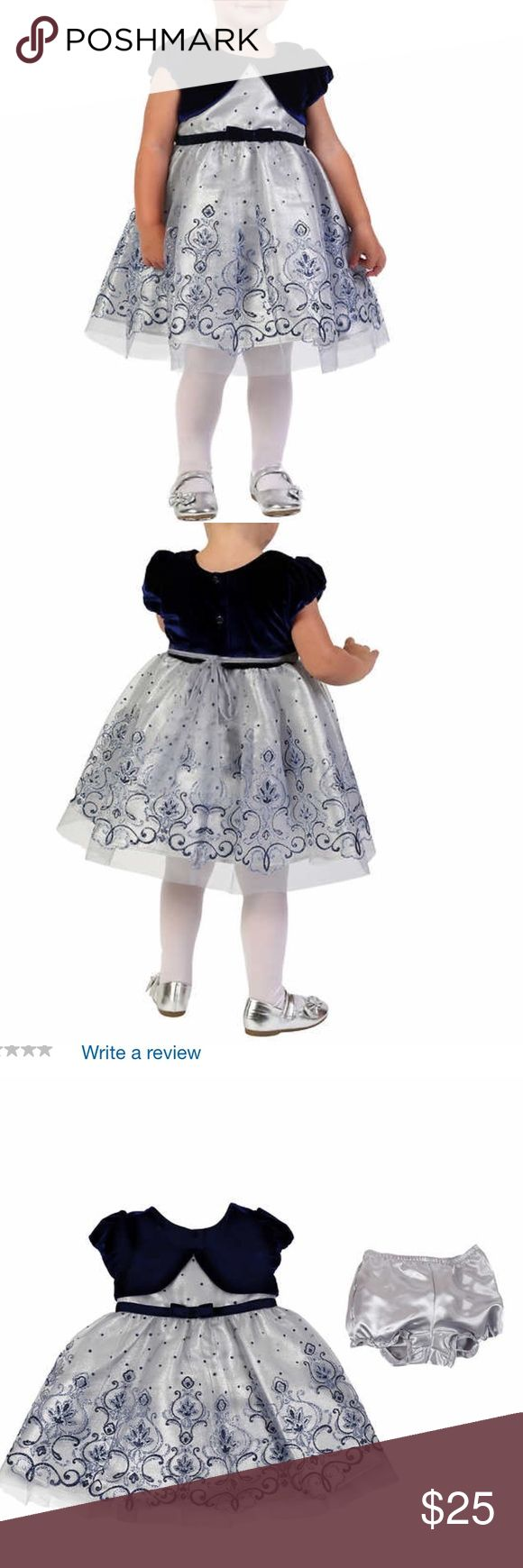 Jona Michelle Infant/Toddler Holiday Dress, Silver This dress has been worn once for holiday photos and is in Like New Condition ...  Cap Sleeves Skirt with Glitter Detail Diaper Cover Included for Sizes 12 Months  Machine Washable Jona Michelle Dresses Formal