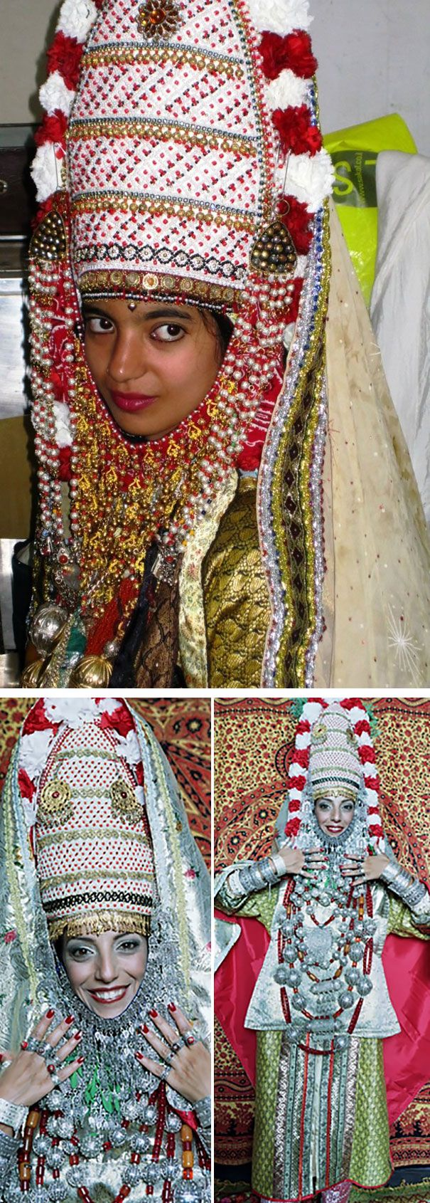Yemenite Jewish Bride In a traditional Yemenite Jewish wedding, the bride wears jewelry and an elaborate headdress decorated with flowers and leaves. These are believed to ward off evil. Gold threads are also woven into the fabric of her clothes and wedding celebrations traditionally last seven days.