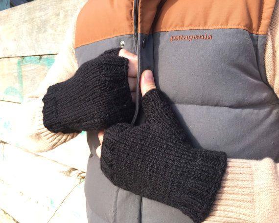 Black classic fingerless mittens unisex men women by In2twine