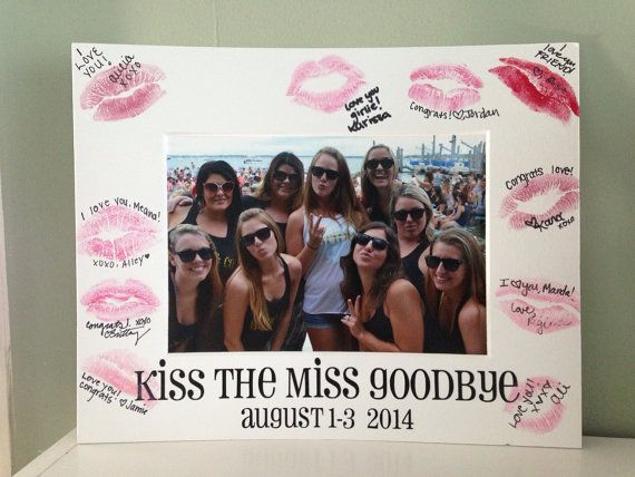 This Kiss the Miss Goodbye picture mat is great for any bachelorette party! The mat is for an 8x10 frame and holds a 5x7 picture. This photo studio