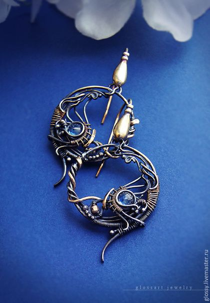 Earrings handmade. Fair Masters - handmade. Buy Earrings Valdivia. Handmade. Ear-rings, wire wrap, silver