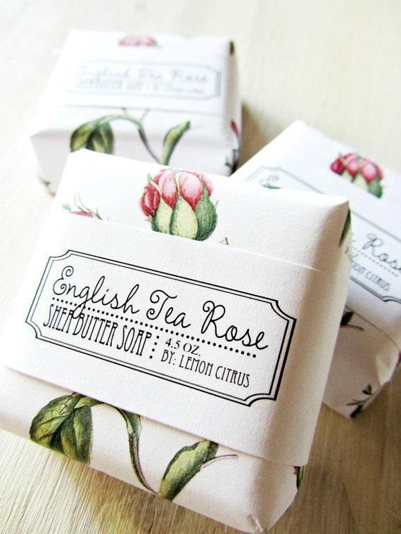 Luxurious rose paper wrapped English Tea Rose Soap.