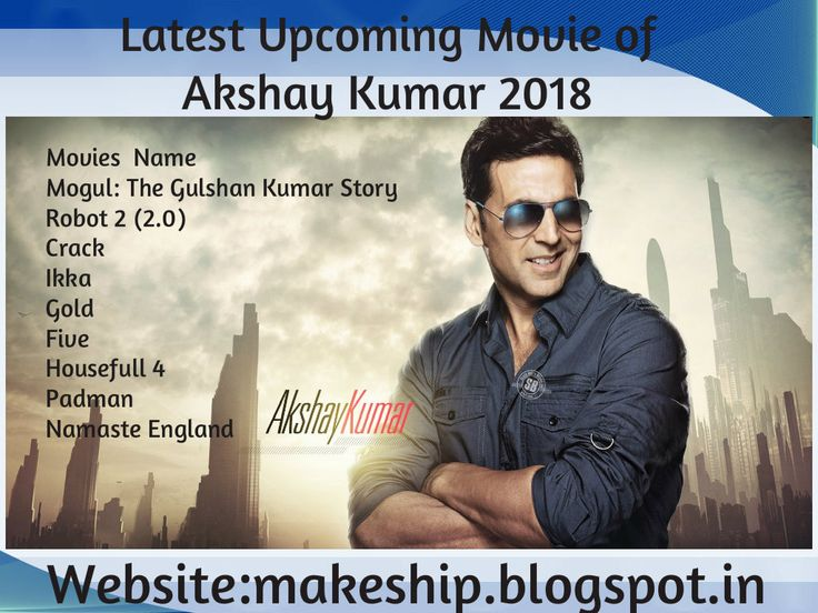 Latest Upcoming movie of Akshay Kumar Akshay become name of established actor in bollywood,who has done different kinds of roles like comedy,action and more. In 2017 started with Jolly LLB 2 for Akshay Kumar and Toilet:ek prem katha film received the positive response.To know more please visit here:makeship.blogspot.in