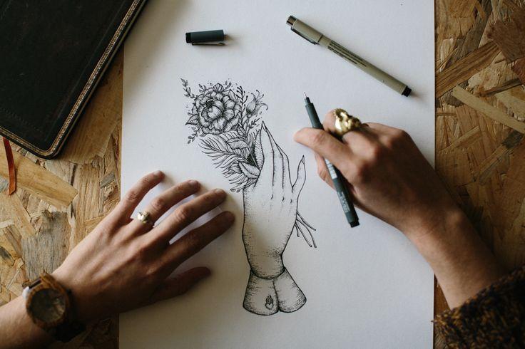 illustration gravure à la main pour le photographe Yoris Couegnoux -  logo - ink - tatoo - flowers - studio waaz