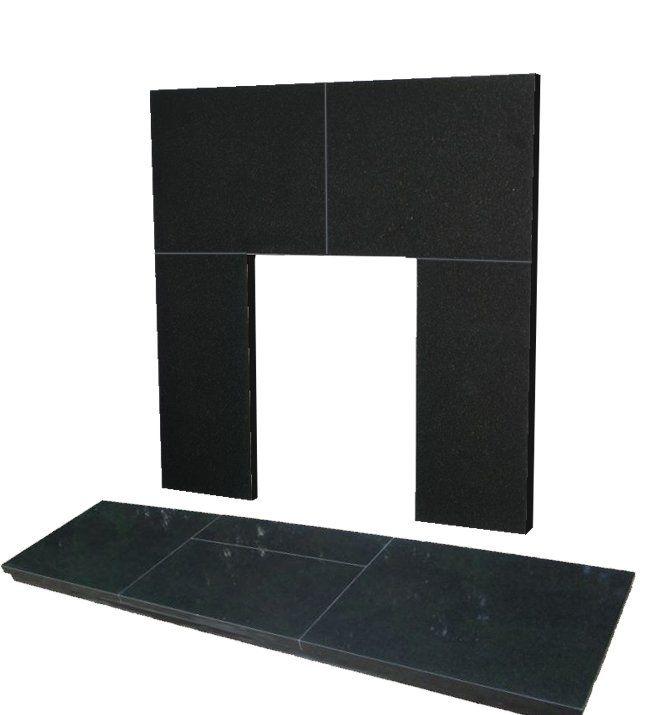 48In X 18In Slabbed Black Granite Hearth And Back Panel Set