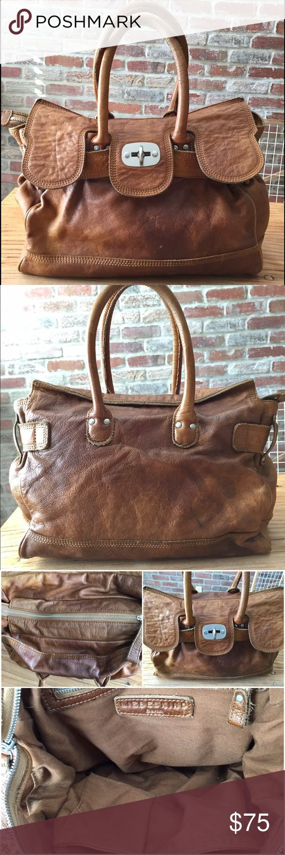 """Liebeskind Berlin Gloriana leather satchel Gorgeous distressed brown leather satchel. Flap, zip, and lock closure. 10""""H x 13""""W x 6"""" depth. 7"""" strap drop. 3 internal pockets. Some pen marks and one scratch in pictures. Originally sold at anthropologie for $300 Liebeskind Bags Satchels"""