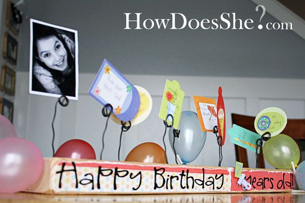 """2x4 Happy Birthday Board.  Cute way to celebrate an upcoming birthday, with one side """"girl"""" themed, and the other """"boy.""""  Like the """"holders"""" to either use as """"count-down treats"""" or maybe even birthday cards."""
