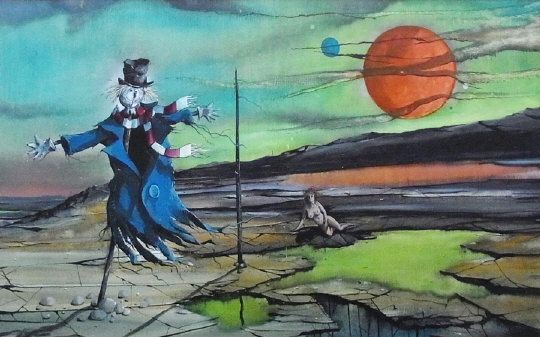 """Francis Wainwright (b.1940) - """"Venus"""" (acrylic on board) circa 1976,  with photograph of the above with authentication signature by the artist, 53cm x 86cm  Estimate £150.00 to £200.00 (Lot no: 106 in sale on 05/08/2014)  The Cotswold Auction Company"""