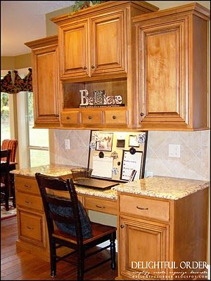 Love this desk in the kitchen!