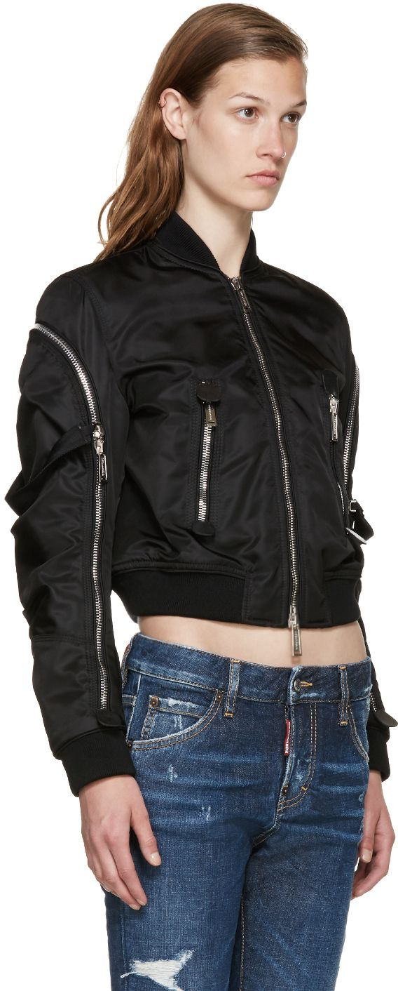 Dsquared2: Black Nylon Bomber Jacket | SSENSE