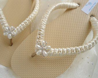 Ivory Bridal Flip Flops Sandals Wedding Beach Shoes Pinterest Flipping