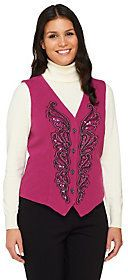 Bob Mackie's Smart Denim Sequin and Embroidered Vest ($18.15) // Amy Santiago