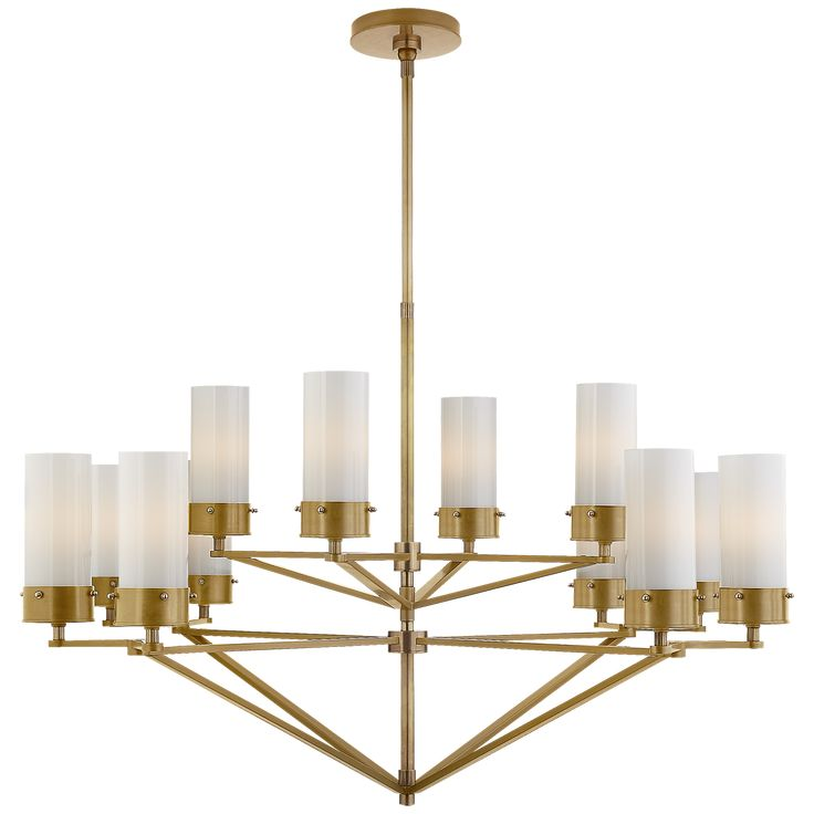Marais Large Chandelier in Bronze and Hand-Rubbed Antique Brass with White Glass