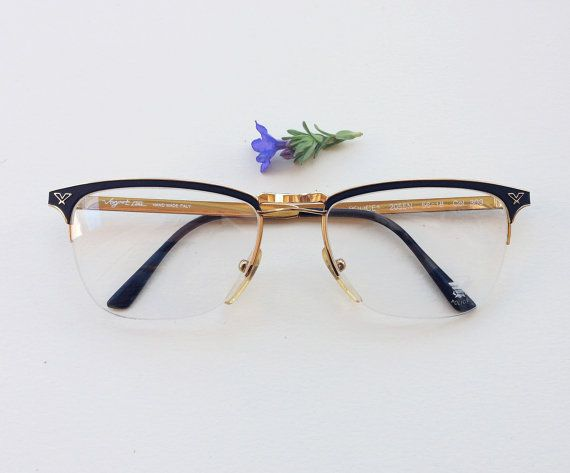 Police Vogart 80s eyeglasses / 1980s NOS gold and enamel black designer frames / half rimmed handmade in Italy sunglasses / Luxury eyewear by Skomoroki