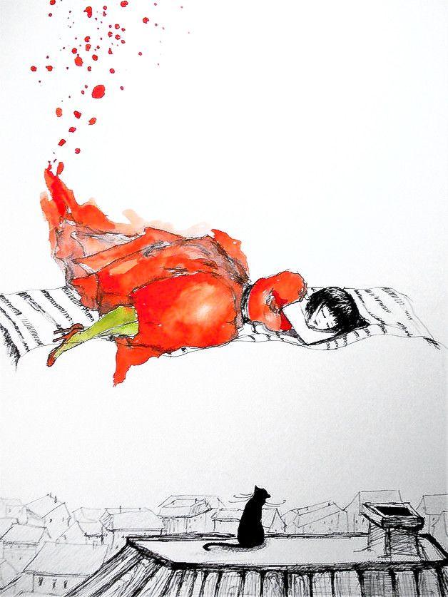 """""""SEN W DZIEŃ"""" praca akwarelą i piórkiem wykonana przez artystkę plastyka Adrianę Laube na papierze A3."""