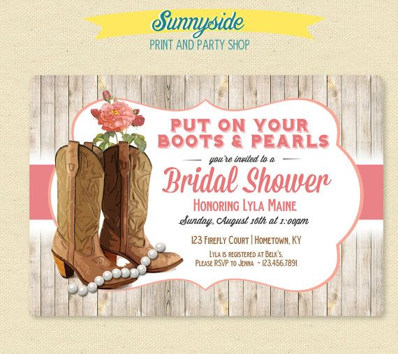 Boots & Pearls - Country Girl Bridal Shower Invitation