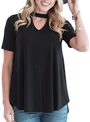 15f69cd952424 ZESICA Women s Summer Casual Short Sleeve Choker T Shirt Tops ...