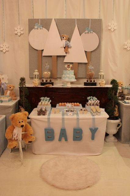 "Photo 12 of 50: Blue and brown Shower / Baby Shower/Sip & See ""Winter Bearland"" 