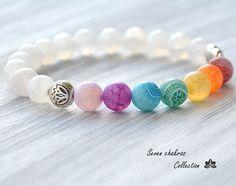 8 mm Chakra Bracelet - Yoga Jewelry - Mala Beads - Gemstone Jewelry - Energy…