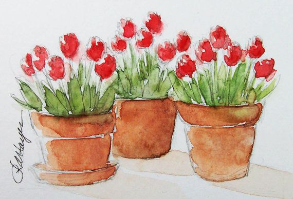 Red Tulips Three Pots Original Watercolor Painting by RoseAnnHayes, $20.00
