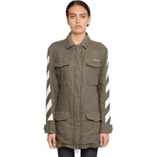 Off White Women Lightly Padded Linen Field Jacket ($1,655) ❤ liked on Polyvore featuring outerwear, jackets, military green, olive army jacket, field jackets, army green military jacket, olive jacket and linen jacket
