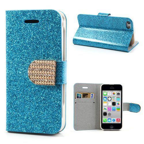 Blauw glitter bookcase hoesje voor iPhone 5C
