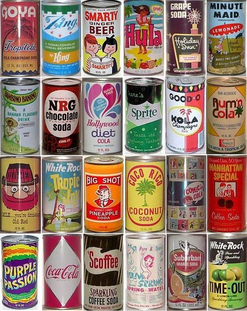 fuckyeahvintage-retro:    soda cans produced between 1930s @ 1970s