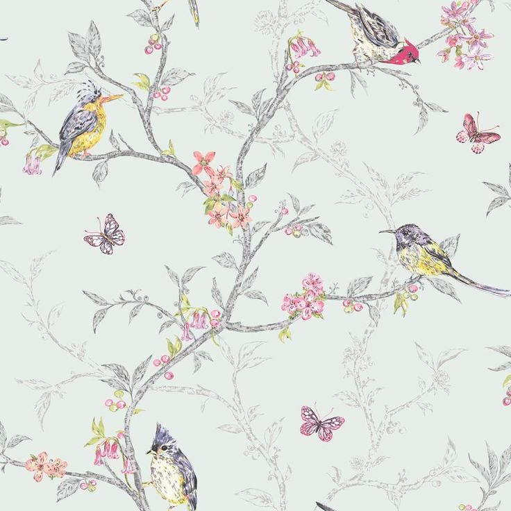 This fabulous shabby chic style statement wallpaper from Holden Decor features an ornithology theme. Brightly coloured hand painted birds on a branch design with a metallic silhouette branch background.