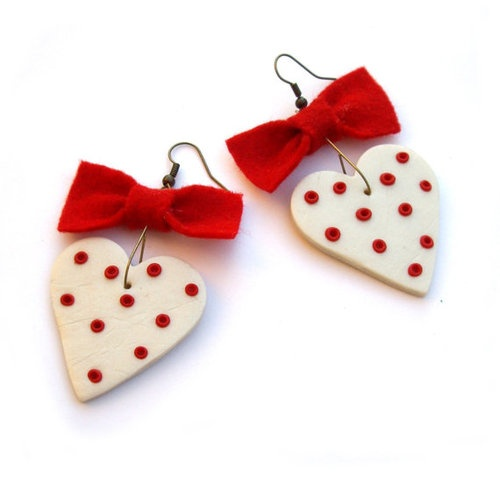 country red polka dotted heart earrings