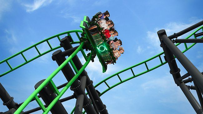 Green Lantern, on the Gold Coast of Australia at Warner Brother's MovieWorld. Steepest drop in the Southern Hemisphere and speeds of up to 66km per hour.    Read more: http://www.news.com.au/travel/news/southern-hemispheres-steepest-rollercoaster-opens-at-movie-world/story-e6frfq80-1226229221006#ixzz21CLHvAQG