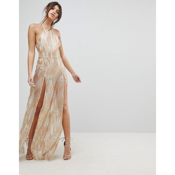 NaaNaa Sequin Maxi Dress with Double Thigh Split ($91) ❤ liked on Polyvore featuring dresses, gold, gold maxi dress, bodycon dress, gold party dress, sequin cocktail dresses and bodycon maxi dress