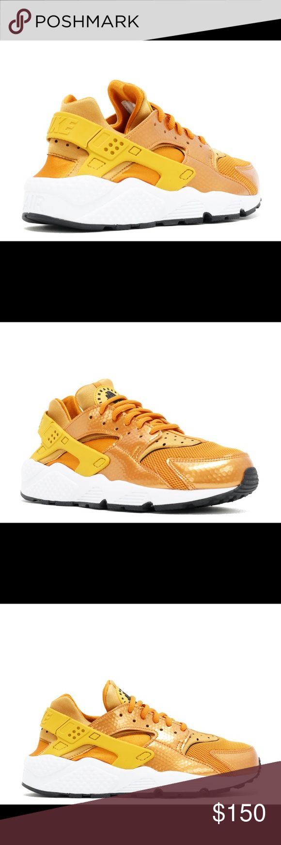 Nike Huaraches Brand new never warn sunset, gold dart-white-black   2016!! Great pop of color and super comfortable. Comment below with any questions 💕💕 Price is firm! Nike Shoes Athletic Shoes