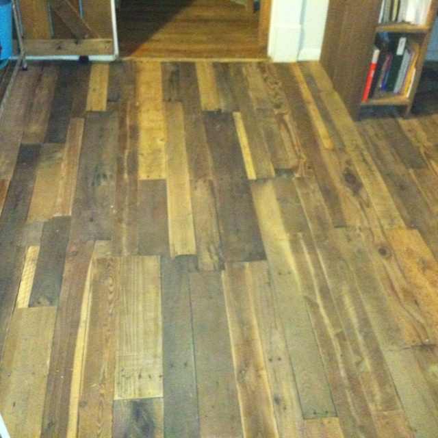 My pallet floor I finished. Also used the recipe on Pinterest for the weathered wood look!