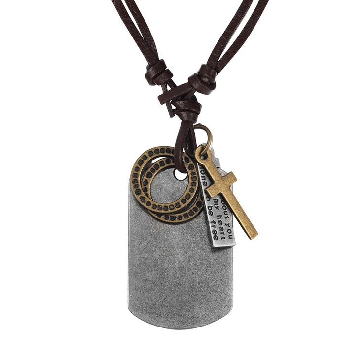 Cool Men Jewelry Tibetan Silver Card Pendant Neckalces for Men Adjust Leather Collar Necklace