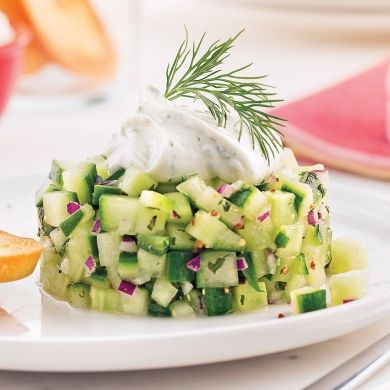 Tartare de concombre et fines herbes - Entrées et soupes - Recettes 5-15 - Recettes express 5/15 - Pratico Pratique