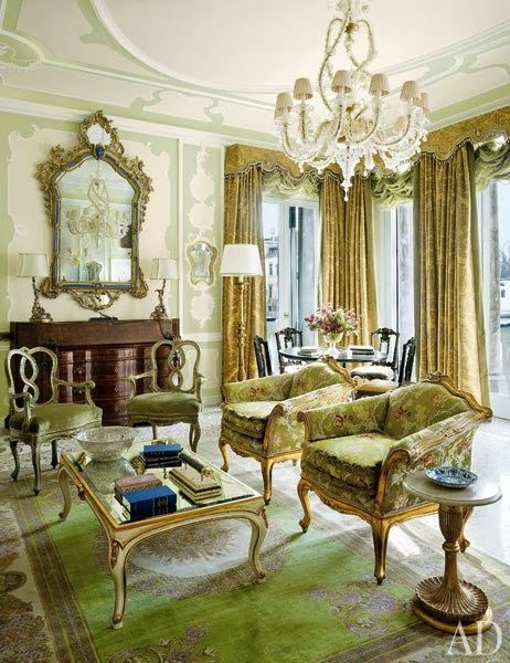 Green and cream and gold and antiques and Old World, Italian opulence in the sitting room of this beautiful suite at the historic and stunning Gritti Palace Hotel in Venice.