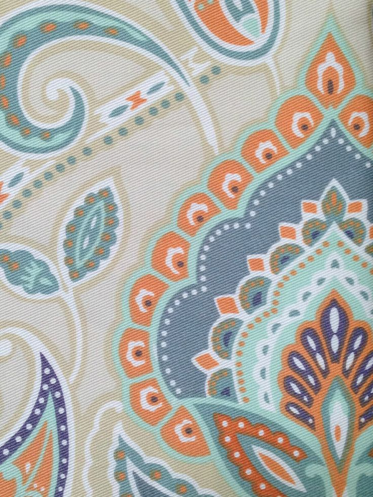 CYNTHIA ROWLEY PAISLEY FABRIC SHOWER CURTAIN BURNT ORANGE TAN BLUE AQUA WHITE