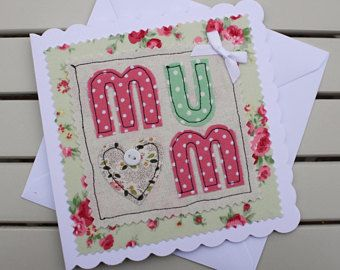 Mothers Day Card - Handmade - Fabric Machine Embroidered - MUM - Personalised Insert - Green Floral