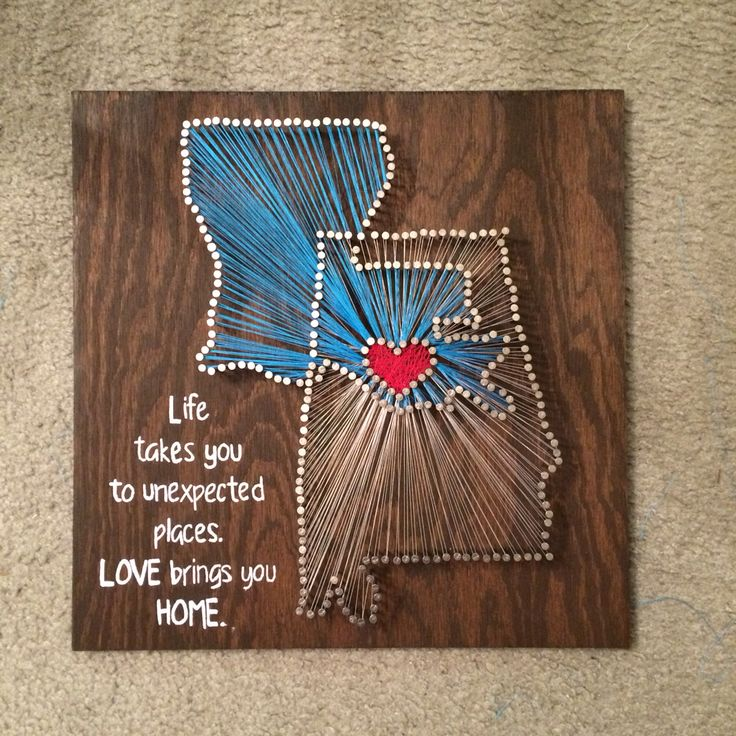 I like this, but not with the string art. & I'd find a different saying to put in the corner.
